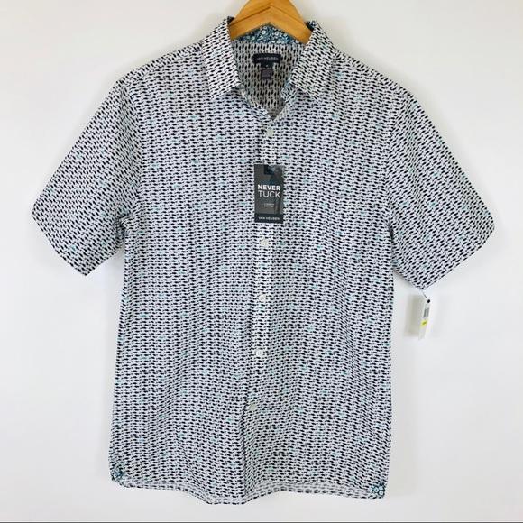 Van Heusen Other - NWT Van Heusen Slim Never Tuck Shark Print Shirt M